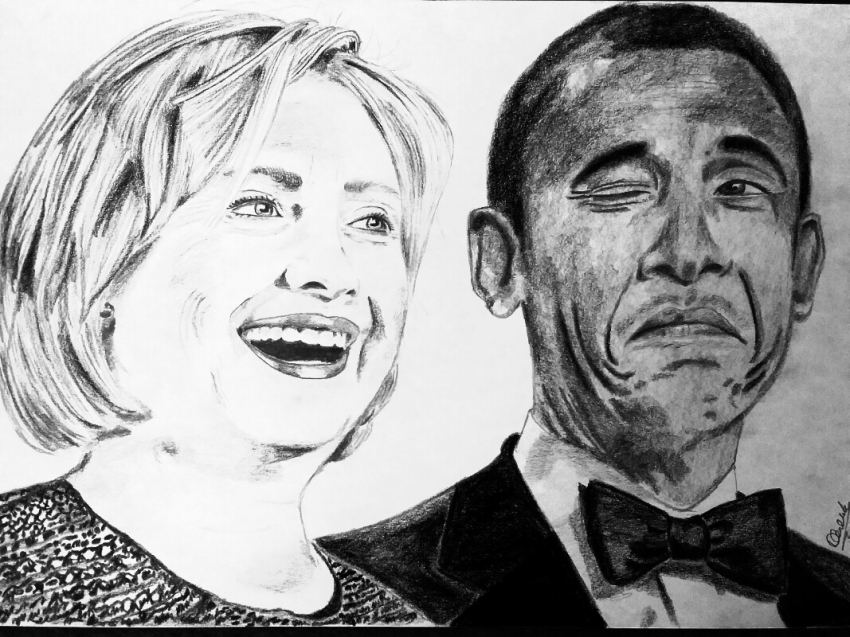 Barack Obama, Hillary Clinton by mngha